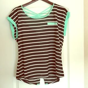 Striped Blouse with Mint Green Detail